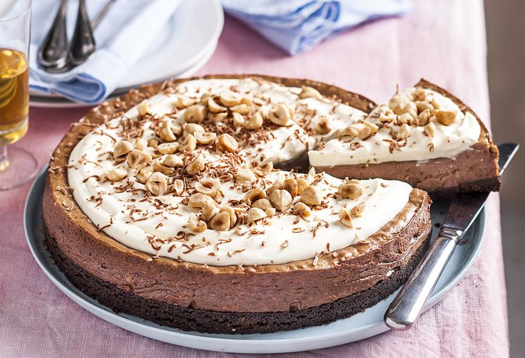 With chocolate ripple biscuits at its base, a cream cheese and chocolate hazelnut centre, and a whipped cream topping, this really is one decadent cake…