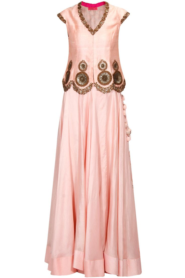Light pink embroidered asymmetrical lehenga set available only at Pernia's Pop Up Shop. #perniaspopupshop #shopnow #newcollection #wedding #radhikaairi #ethnic #clothing #happyshopping