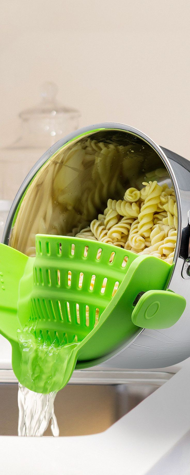 Snap'n Strain's silicone strainer, discovered by The Grommet, clips right on the pot to drain without needing to transfer your food.