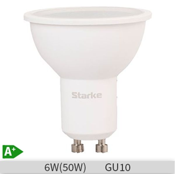 Bec LED STARKE Plus forma spot GU10, 6W-50W, 30000 ore, lumina rece 6500K