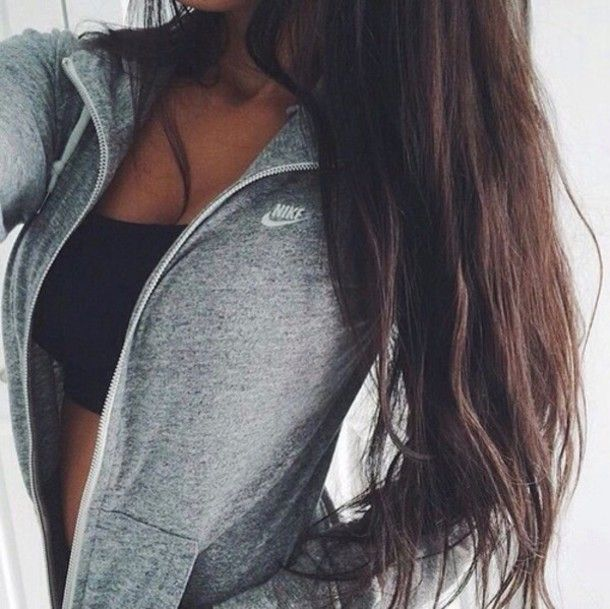 workout clothes black bra nike grey pocket long brown hair collar zipper white tan girl chest cleavage stomach