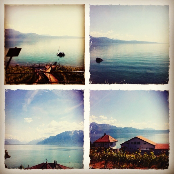 Views of Lake Geneva in Switzerland during a train ride through the Alps.
