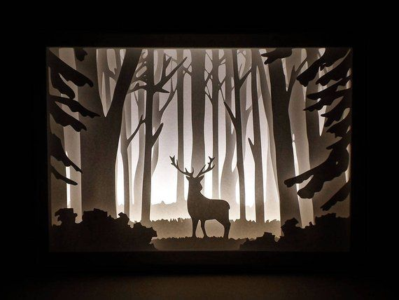 Decorative Light Box With Wood Frame Portraying A Deer In The Woods This Fascinating Shadow Will Create Magical Atmosphere Your House Displaying