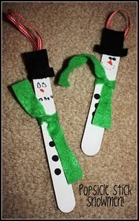 Snowman popsicle stick ornament craft, and a few other cute ideas for