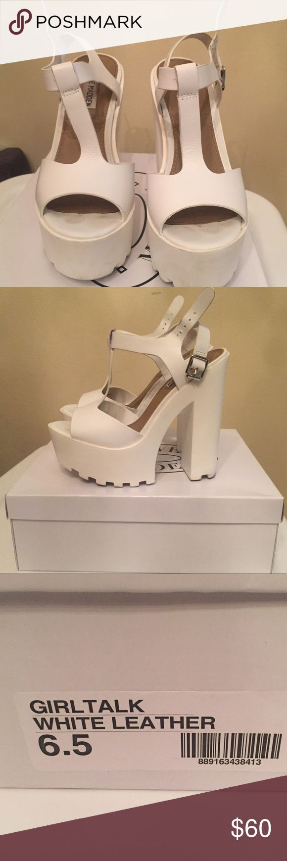 Steve Madden chunky heel shoes White leather, strappy, platform, chunky heels.  Steve Madden. Steve Madden Shoes Platforms
