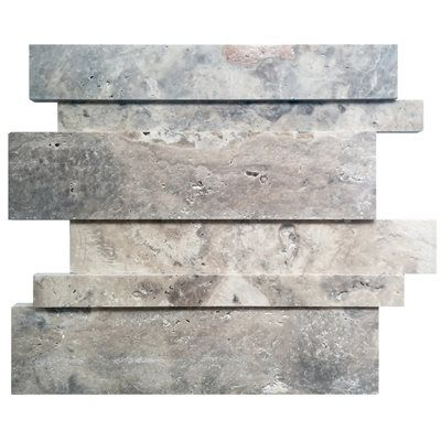 Avenzo 12-in x 12-in Linear Silver Travertine Mosaic Wall Tile