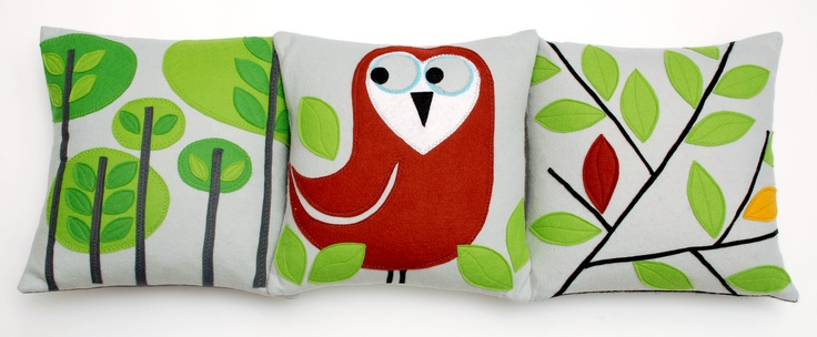 Looking good together! Nugget Orchard, Owl and Leaf cushions.