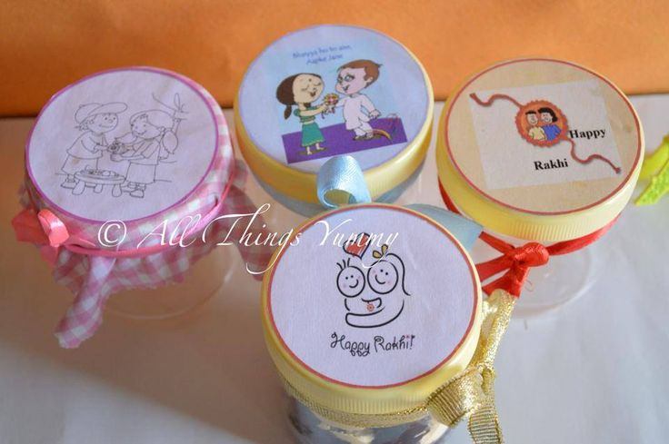 The cake in a jar gets #festive.. #Customised jars just for your sister/ brother.  #cakeinajar #RIBBONS #RAKHI #atyummy #sister #brother #animations