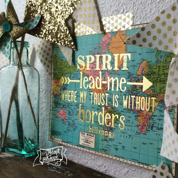 'Spirit, lead me where my trust is without borders' Hillsong United Oceans 5x7 gold foil vintage map print by The Adopt Shoppe #TheAdoptShoppe #TheAdoptShoppeprints #Hillsong #Oceans