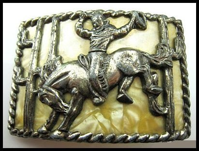 Vintage Belt Buckle Cowboy Rodeo Bucking Bronco Cast Metal