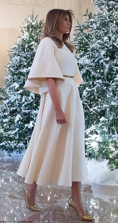 Melanis Trump, viewing the Christmas trees in the White House. 2017
