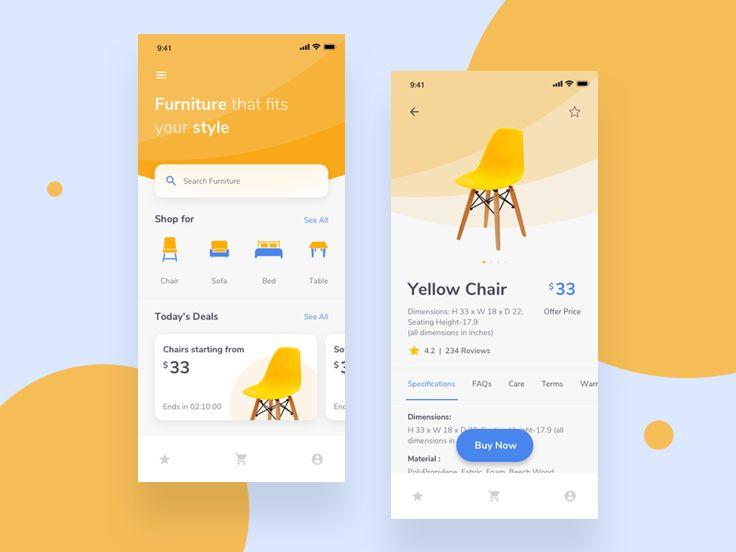 Aplicación para iOS de Furniture E Commerce   – Store ux
