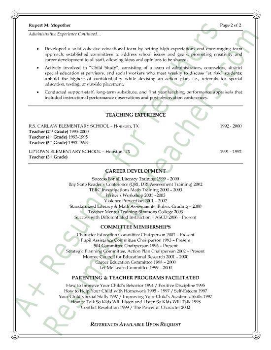 Assistant Principal Resume Sample - Page 2