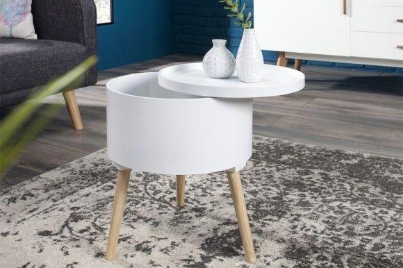 odkládací stolek MULTI TALENT WHITE 45 CM | deflee.cz