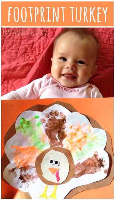 Darling Footprint Turkey Craft for Babies & Toddlers #Thanksgiving craft for kids   CraftyMorning.com