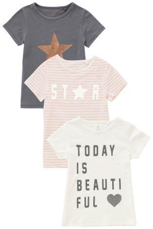 Grey/White/Pink Graphic Short Sleeve T-Shirt Three Pack (3-16yrs)