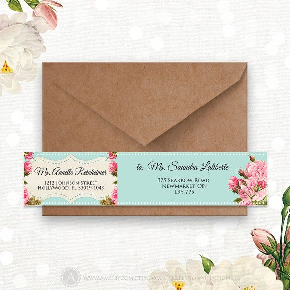 Printable Address Labels Editable Instant Download DIY - Teal & Pink Rose Wrap Around Address Label Stickers Template for A6, A7 envelopes