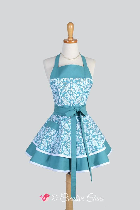 Ruffled Retro Apron , Woman Apron Teal Blue and White Damask Flirty Cute Vintage Apron Ruffled Kitchen Apron Personalize or Monogram