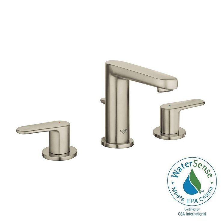 GROHE Europlus 8 in. Widespread 2-Handle Bathroom Faucet in Brushed Nickel InfinityFinish, Brushed Nickel Infinityfinish™
