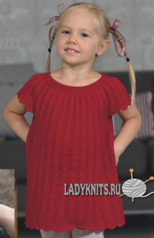 Простое ажурное платье спицами для девочки от 4 до 6 лет