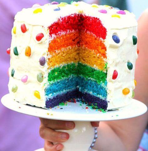 Torta arcobaleno: potete realizzarla nei sei colori dell'arcobaleno (giallo, arancione, rosso, azzurro, viola, verde) o, per arrivare a sette, numero che simboleggia l'equilibrio perfetto, aggiungervi uno strato colorato di indaco.
