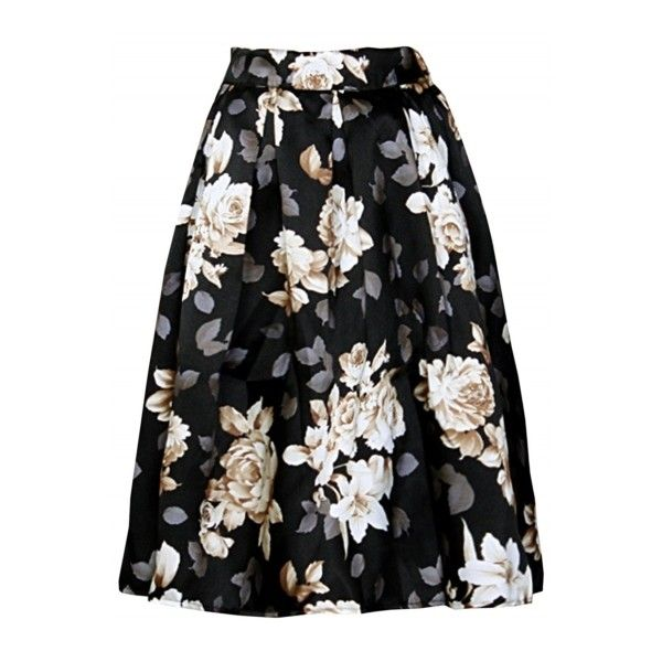 Women's Vintage Elastic Waist Floral Print Pleated Skirt (£13) ❤ liked on Polyvore featuring skirts, bottoms, elastic waist skirt, floral knee length skirt, floral midi skirt, a line skirt and calf length skirts