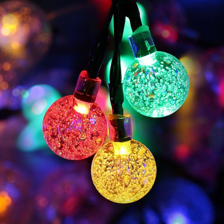 led solar lamps string light 5m 30leds crystal ball waterproof colorful warm white fairy garland garden - Christmas Light Ball