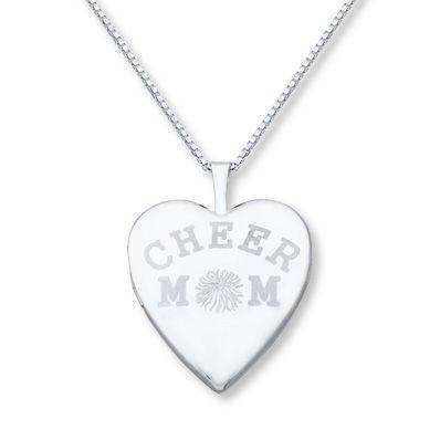 Cheer Mom Heart Sterling Silver Locket Necklace