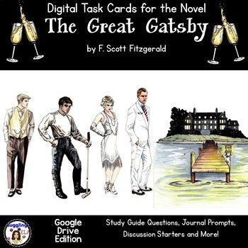 84 Digital Task Cards for the Novel The Great Gatsby by F. Scott Fitzgerald (Google Drive Edition)