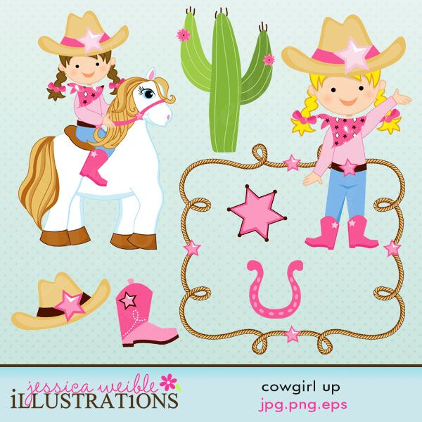 This Cowgirl Up clipart set comes with 8 cowgirl graphics including: a cowgirl on a horse, a cowgirl gesturing, a rope frame, a sheriff badge, a cactus, a boot, a cowgirl hat and a horseshoe.    Graphics are made in High Quality 300 dpi and come in JPG, PNG & EPS format.    © 2012 Jessica Weible/JW Illustrations