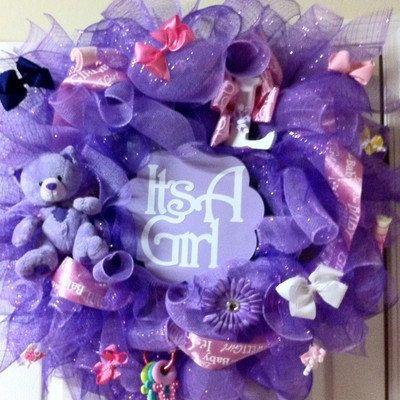 purple deco mesh baby shower girl wreath. $85.00, via Etsy.