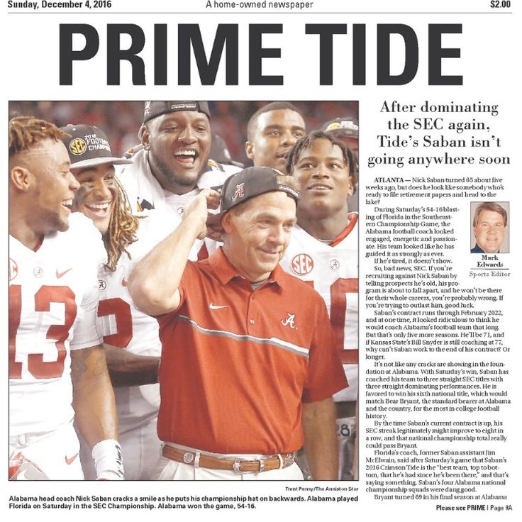PRIME TIDE - SEC Championship Newspaper Headlines - The Anniston Star - Alabama dominates Florida 54 - 16 to win a 3rd straight SEC Championship #BAMAvsUF #SECChampionship #Alabama #RollTide #Bama #BuiltByBama #RTR #CrimsonTide #RammerJammer