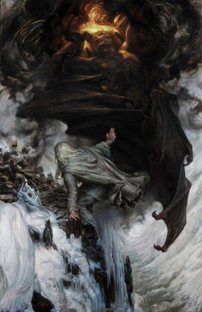 """""""I threw down my enemy"""" Gandalf vs. the Balrog by Donato Giancola"""