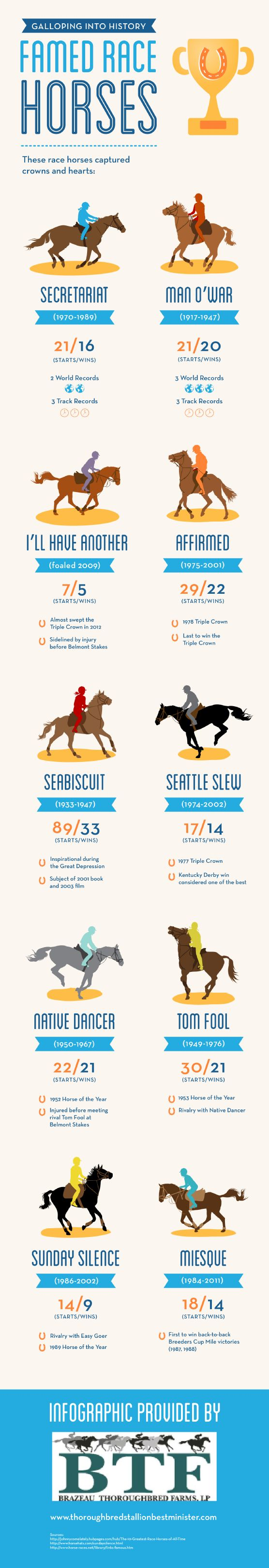 As Seabiscuit proved during the Great Depression, race horses can unite people in times of turmoil and capture the hearts of a nation. This infographi