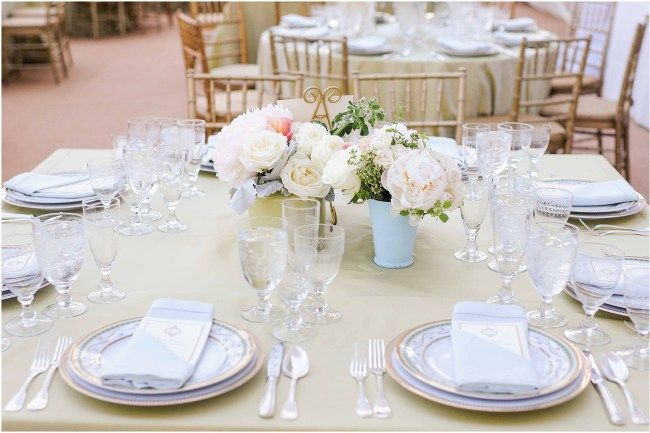 Blush and green centerpiece by Sidra Forman Flowers | Gold and white place setting by Susan Gage Catering|  Clear white tent by Sugar Plum Tents | Elegant and luxury design by DB3 Design | Ana Isabel Martinez Chamorro associate photographer for Mike Buscher Photography