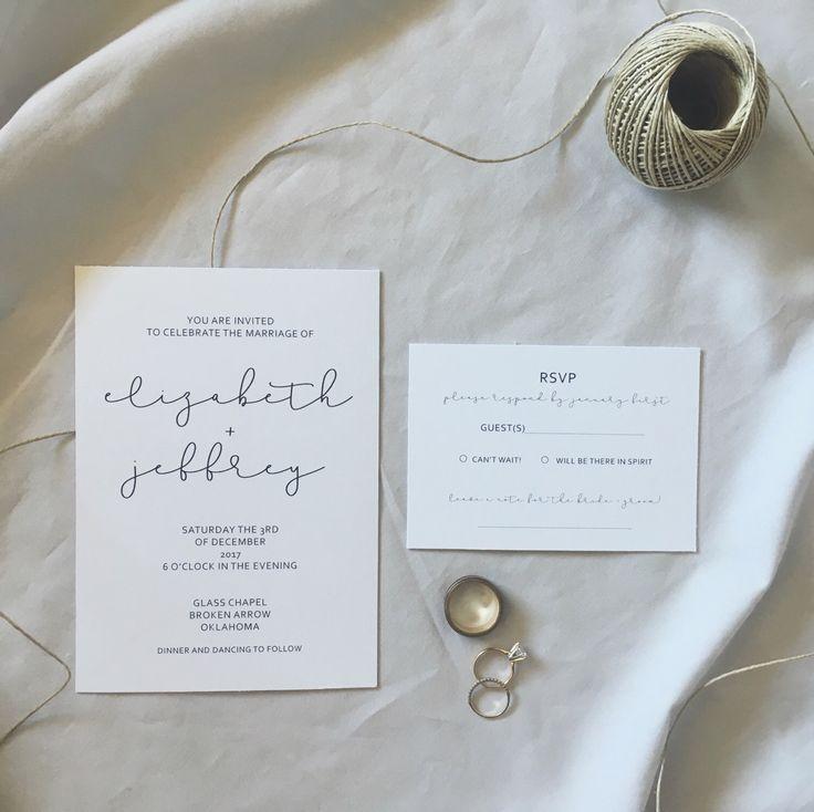 Minimal + Sweet Wedding Invitation Suite - Simple Script Wedding Invitation - Modern Invitations - Digital Download Wedding invitations by faithkristinadesigns on Etsy https://www.etsy.com/listing/509094635/minimal-sweet-wedding-invitation-suite