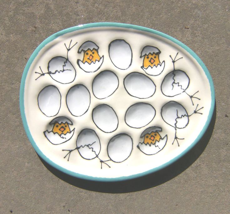 Deviled Egg Plate with Peeps by ColorPots on Etsy