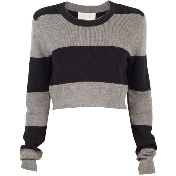 A.L.C. Brandie Stripe Crop Sweater ($120) ❤ liked on Polyvore ...