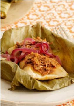 """Shredded Pork Tamales with Pickled Onions – These tamales are inspired by the traditional dish """"cochinita pibil."""""""
