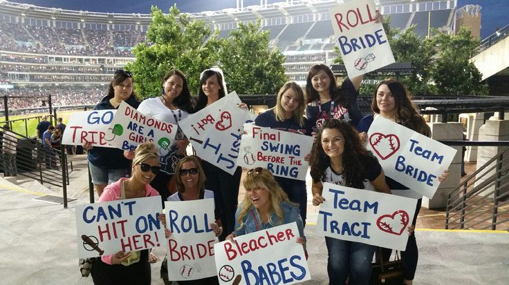 Baseball bachelorette party handmade signs for everyone