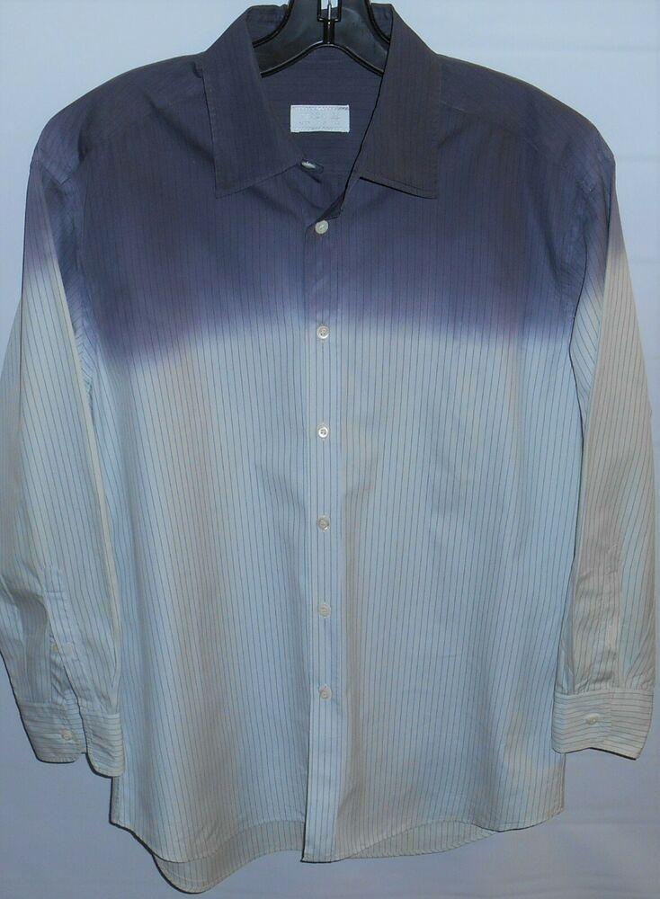 ea531da197 Prada Made In Italy Button Down Two-Tone Blue Stripe Shirt 39 / 151 ...