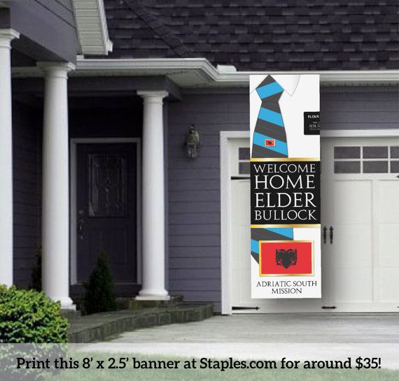 Giant LDS Missionary Welcome Home Banner Poster Printable for Elders on Etsy, $13.95