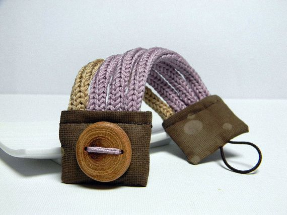 LILAC and SAND knitted bracelet cotton yarn and fabric by ylleanna, €28.00