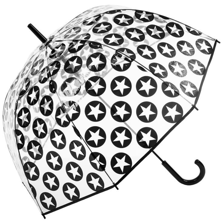 Susino Clear Dome Umbrella - Black Stars