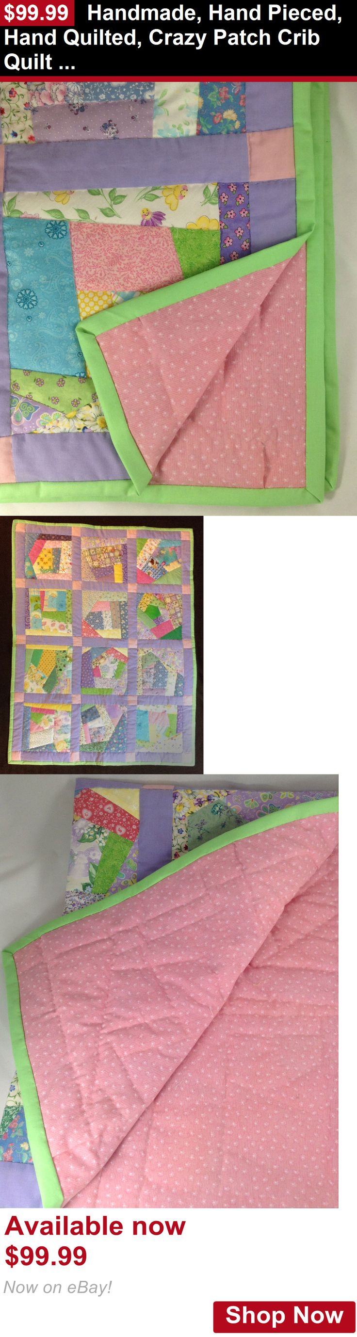 Quilts And Coverlets: Handmade, Hand Pieced, Hand Quilted, Crazy Patch Crib Quilt / Comforter On Sale BUY IT NOW ONLY: $99.99