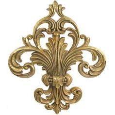 Gold Scroll Fleur-De-Lis Wall Plaque Decor Medallion