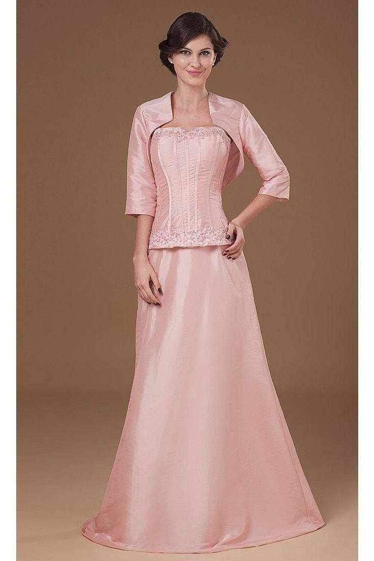 A-linie Herz Ausschnitt Taft Langes Brautmutterkleid Mit Jacke $204.99 Brautmutterkleider Lang