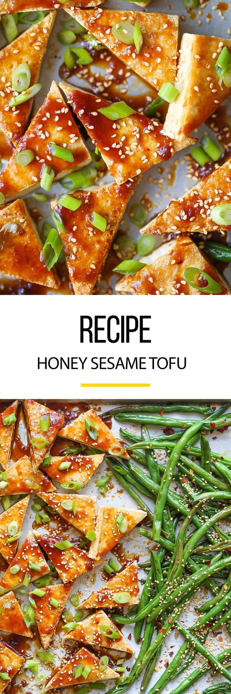 Looking for a healthy weeknight meal? This easy tofu recipe is a nice way to spice things up for a vegetarian. It's full of sesame seeds with a side of asparagus on a simple sheet pan.