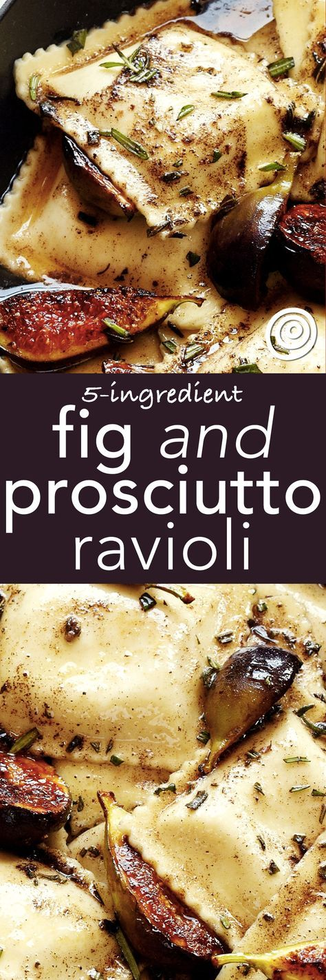 This is a FANCY quick and EASY meal you can make in no time for a date night in - or just a unique family dinner. Start with a grocery store shortcut - cheese ravioli from the refrigerator section -- and toss it with rosemary brown butter, caramelized figs, and crispy prosciutto. YUM.