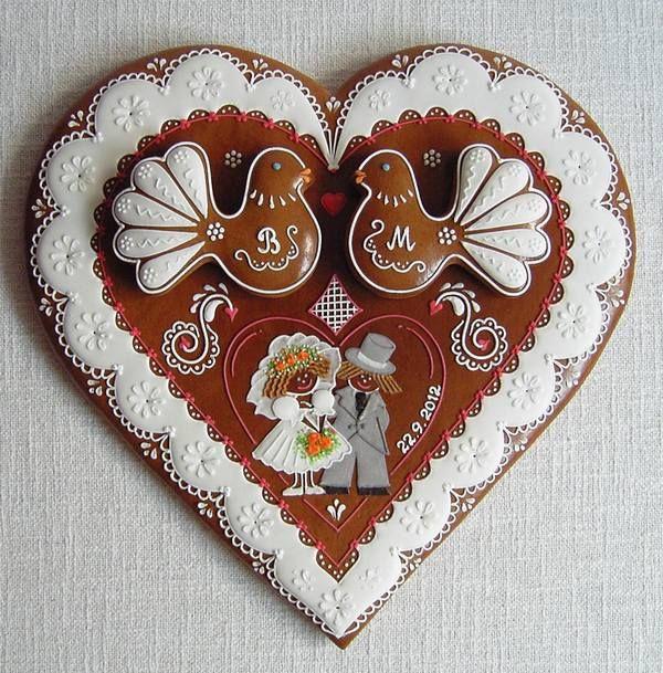 svatební srdce - Slovak/Czech wedding heart gingerbread cookie